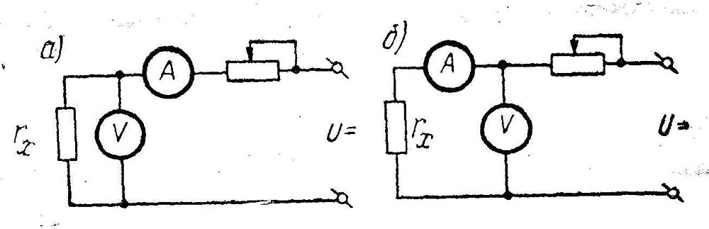 Схема измерения сопротивления методом вольтметра