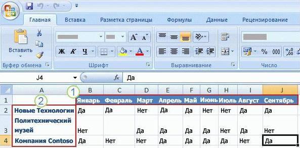 Как сделать заголовки в excel 2007 - Astro-athena.Ru