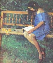 Наташа Нестерова на садовой скамейке (1914 г.)
